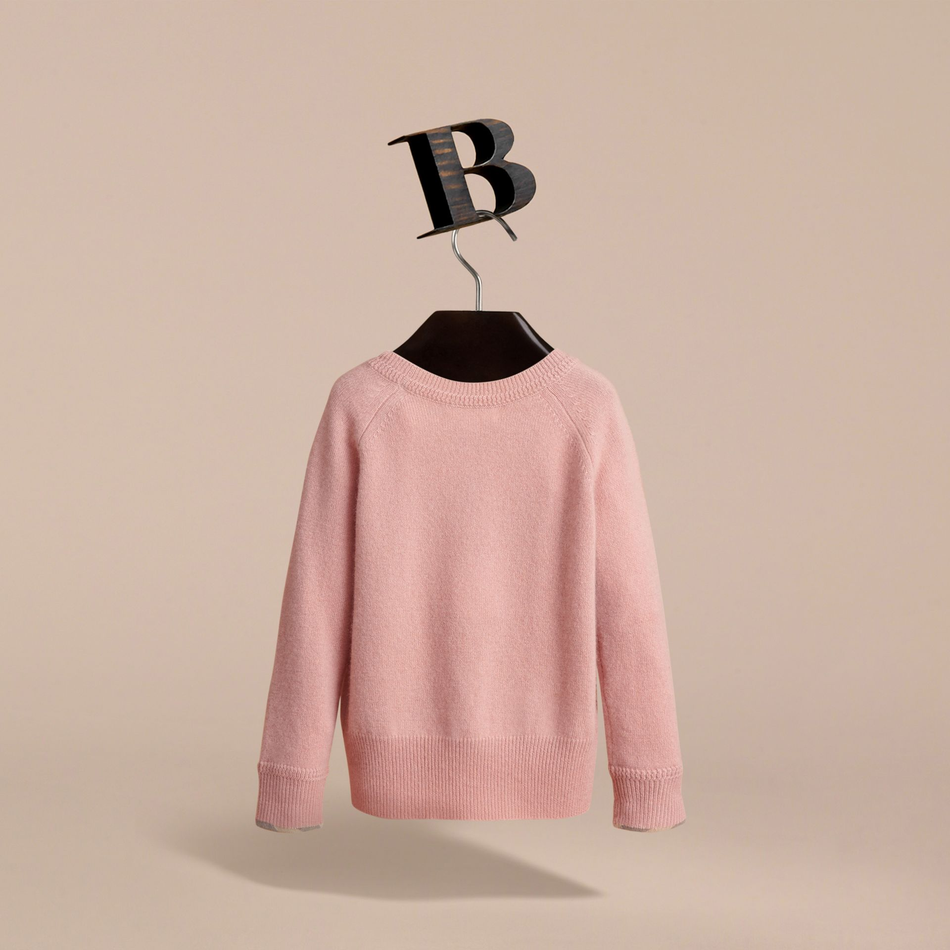 Check Detail Cashmere Sweater in Dusty Pink - Girl | Burberry - gallery image 4