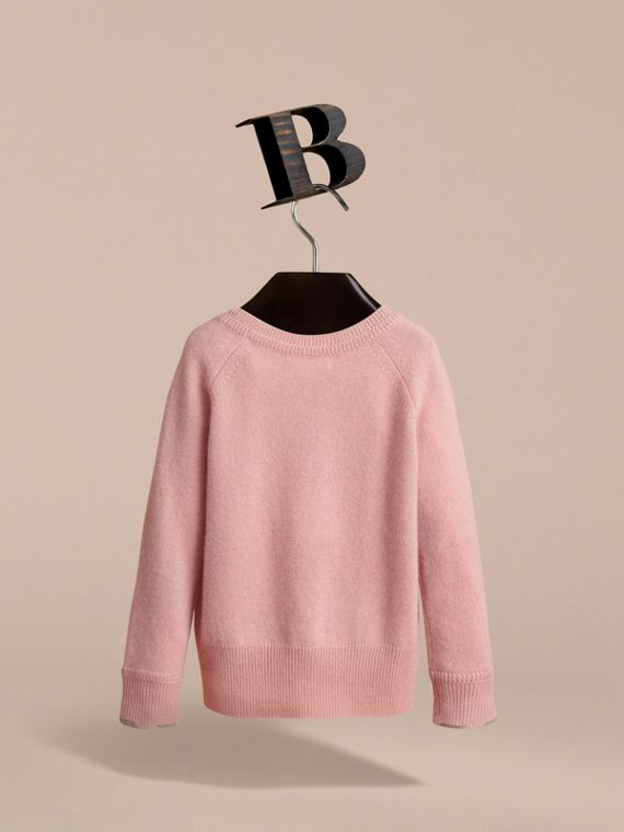 Check Detail Cashmere Sweater in Dusty Pink - Girl | Burberry Canada - cell image 3