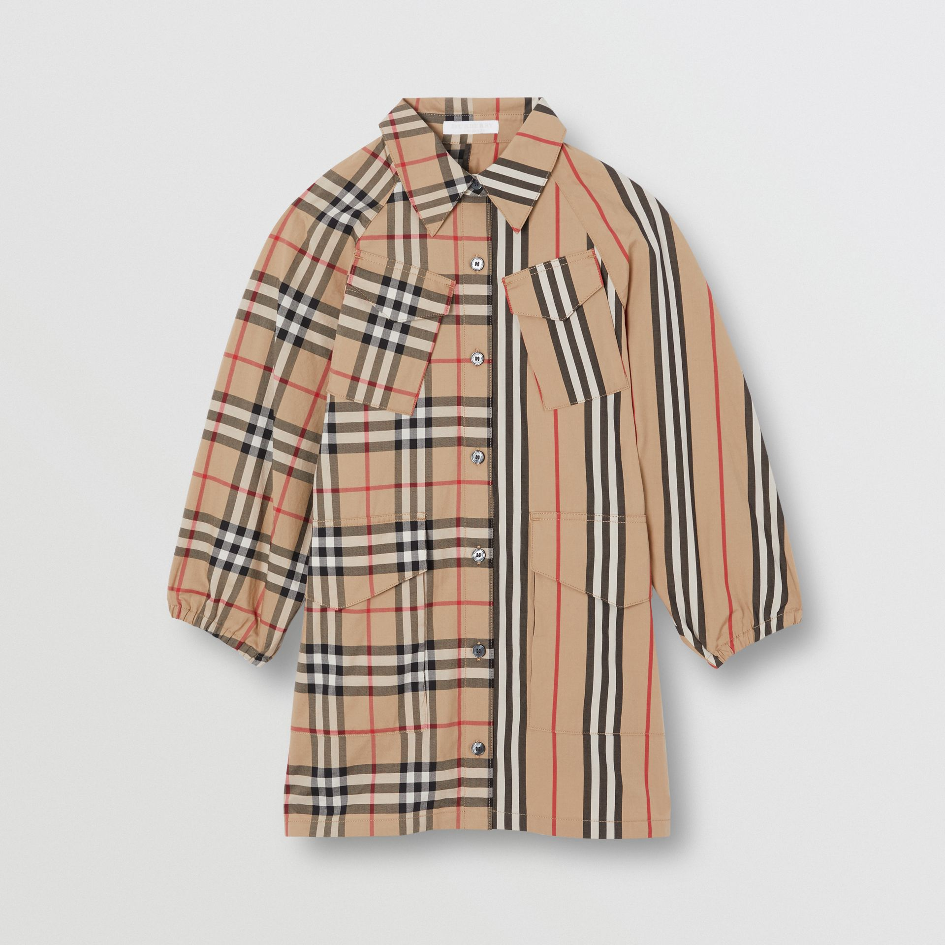 Vintage Check and Icon Stripe Cotton Shirt Dress in Archive Beige | Burberry - gallery image 0