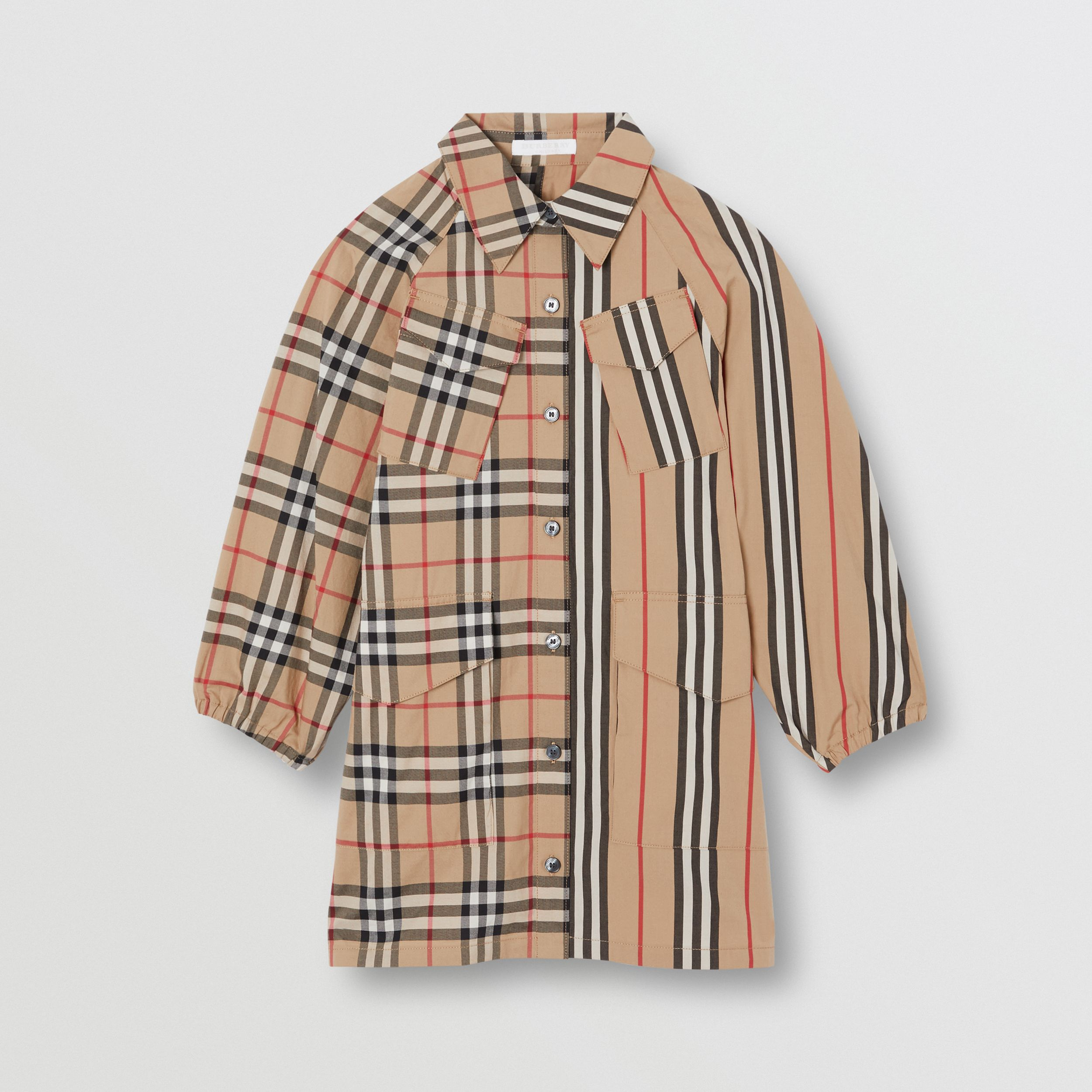 Vintage Check and Icon Stripe Cotton Shirt Dress in Archive Beige | Burberry - 1