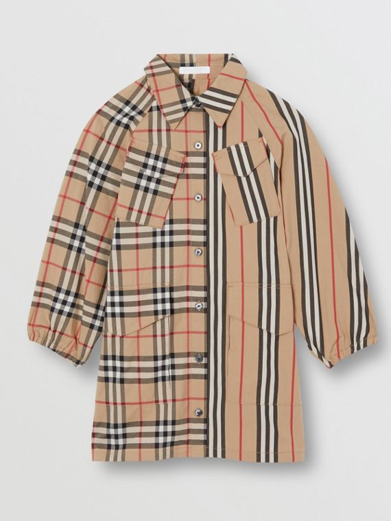 593ee17ac9af Vintage Check and Icon Stripe Cotton Shirt Dress in Archive Beige