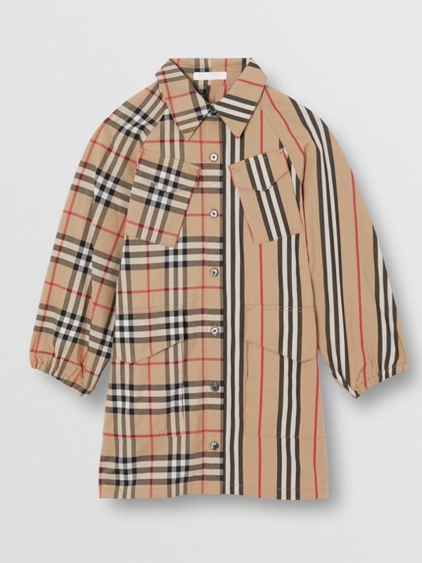 c7b5b708f57 Robe chemise en coton à rayures iconiques et Vintage check (Beige D archive)
