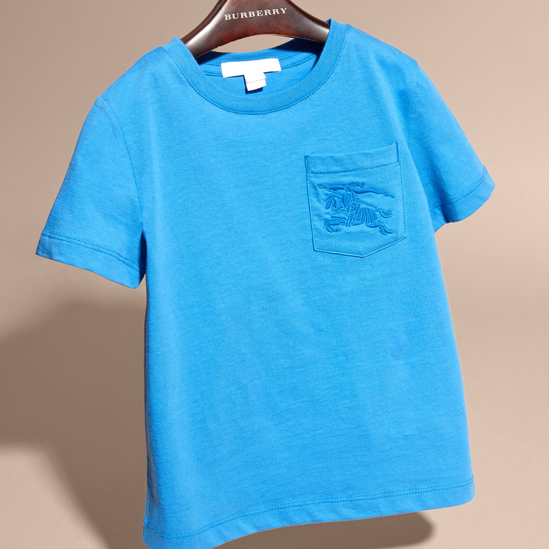 Crew Neck Cotton T-shirt in Chalk Blue - gallery image 3