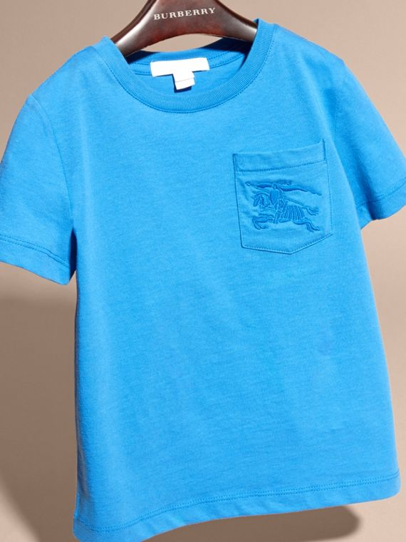 Chalk blue Crew Neck Cotton T-shirt Chalk Blue - cell image 2