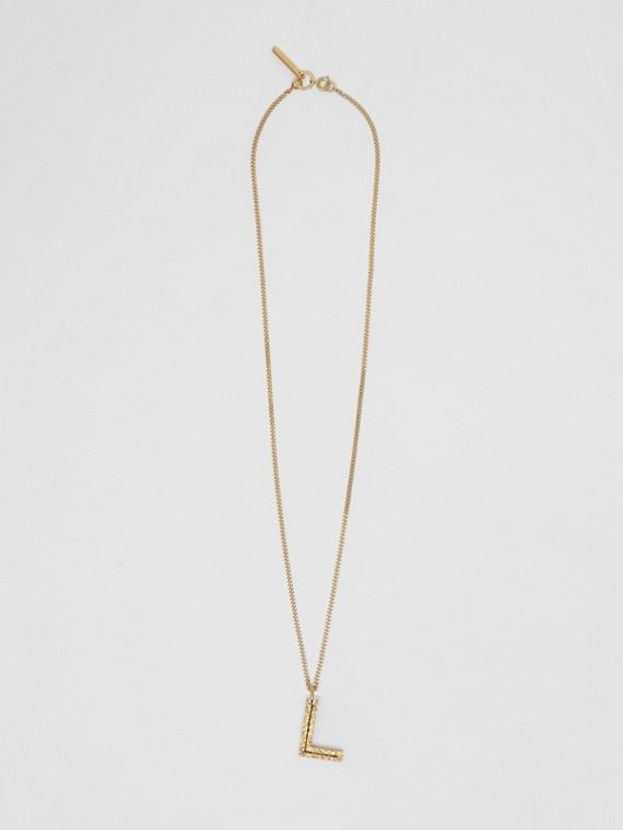 Collana con ciondolo a forma di L in metallo placcato oro (Chiaro)