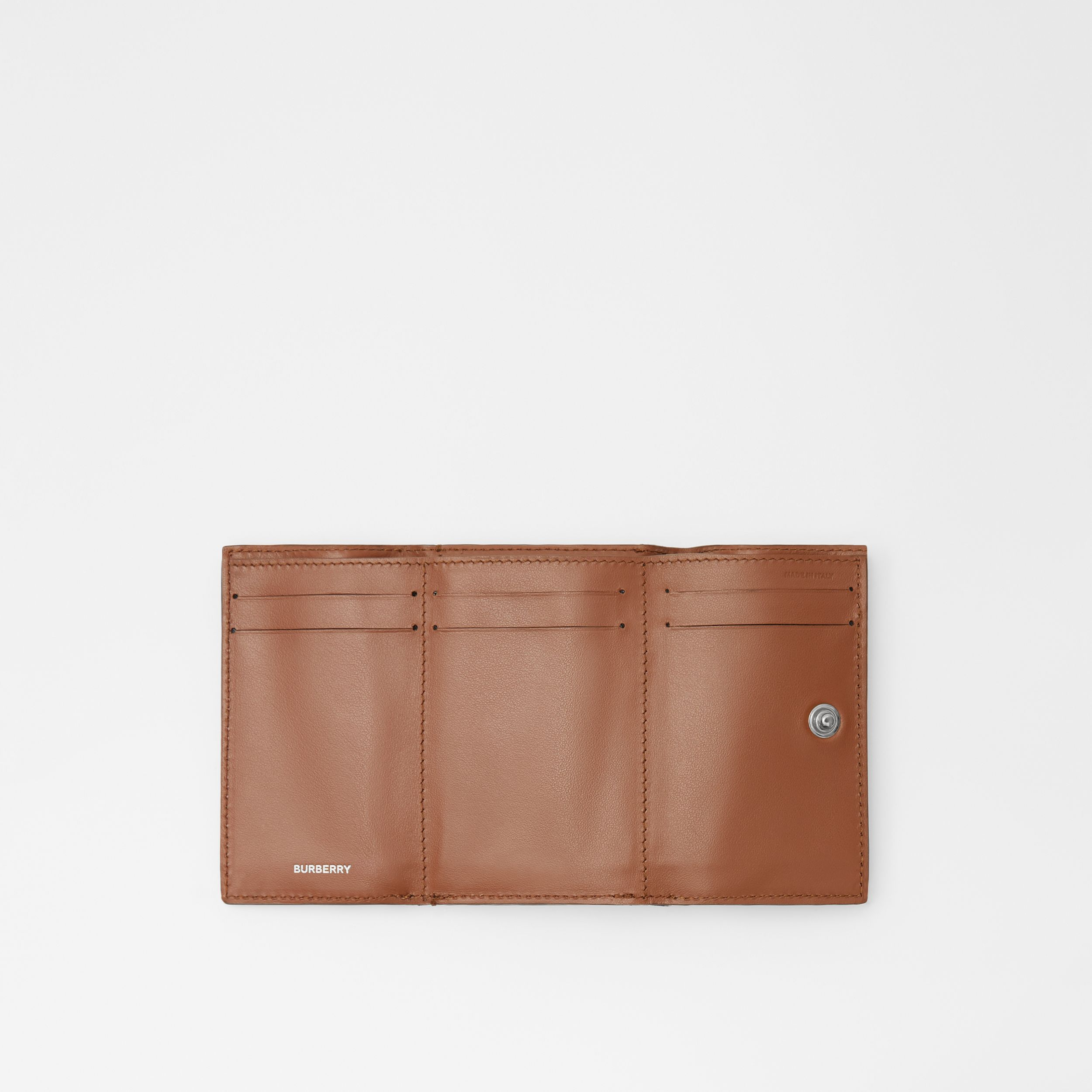 Small Vintage Check E-canvas Folding Wallet in Malt Brown - Women | Burberry Australia - 4