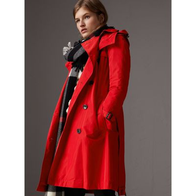Detachable Hood Taffeta Trench Coat in Military Red