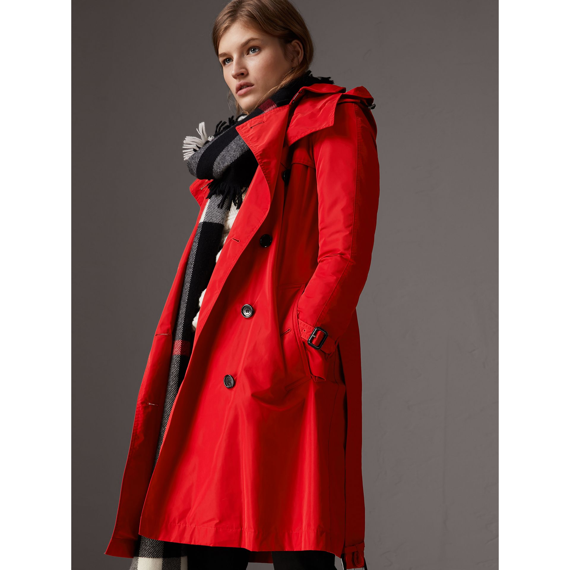 Detachable Hood Taffeta Trench Coat in Military Red - Women | Burberry - gallery image 0