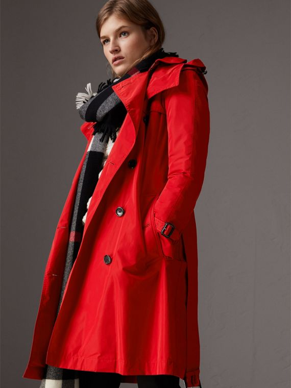 Detachable Hood Shape-memory Taffeta Trench Coat in Military Red