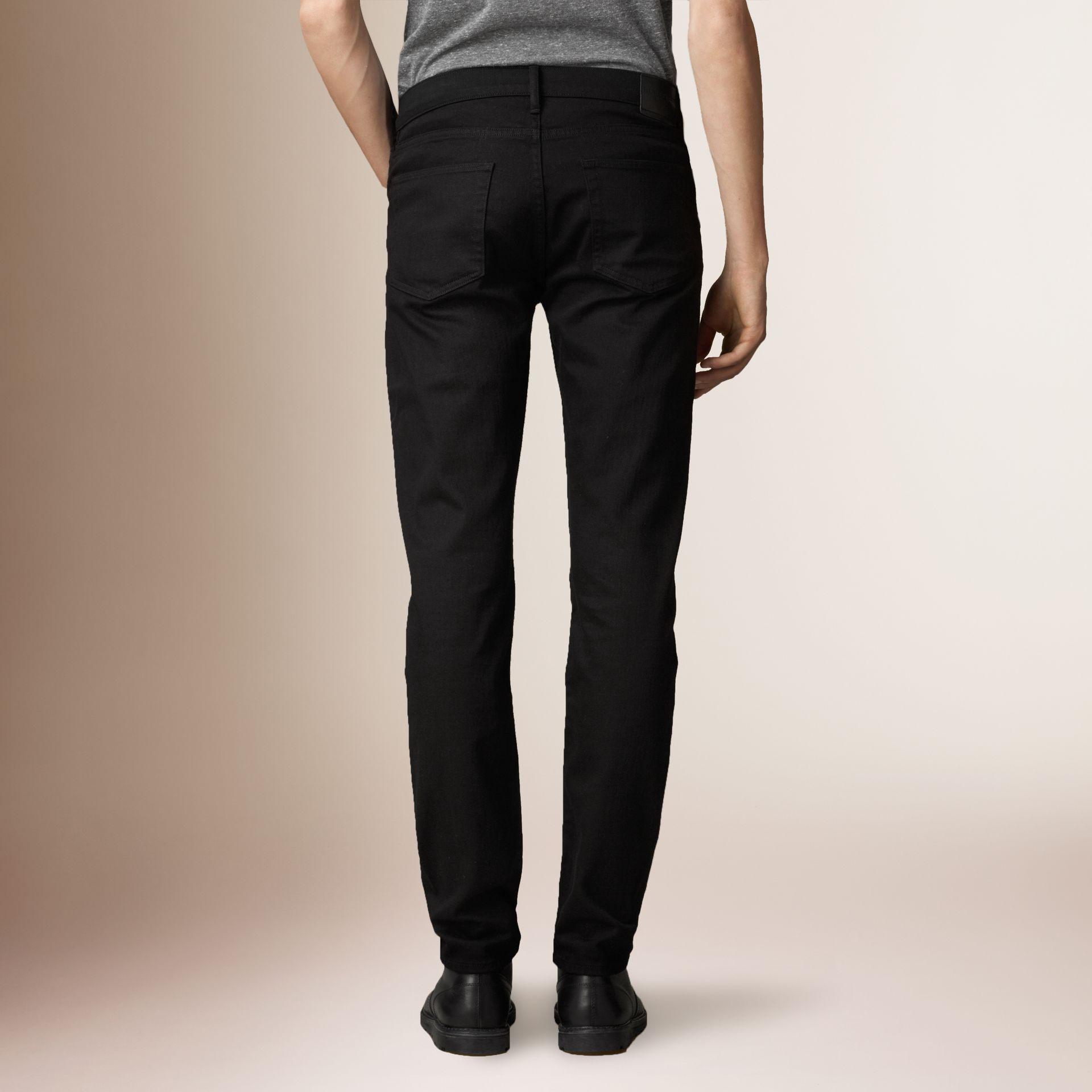 Slim Fit Deep Black Jeans - Men | Burberry - gallery image 1
