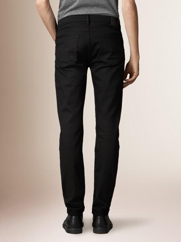 Jeans em corte slim preto - Homens | Burberry - cell image 1