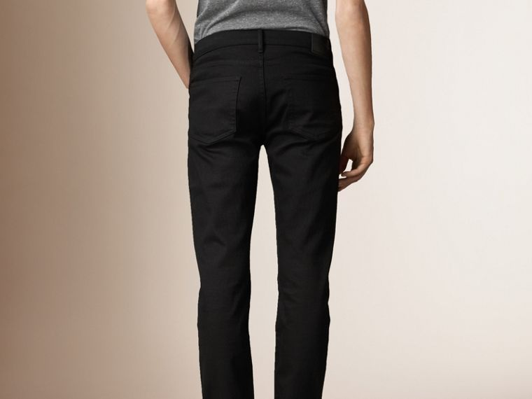 Slim Fit Deep Black Jeans - Men | Burberry - cell image 1