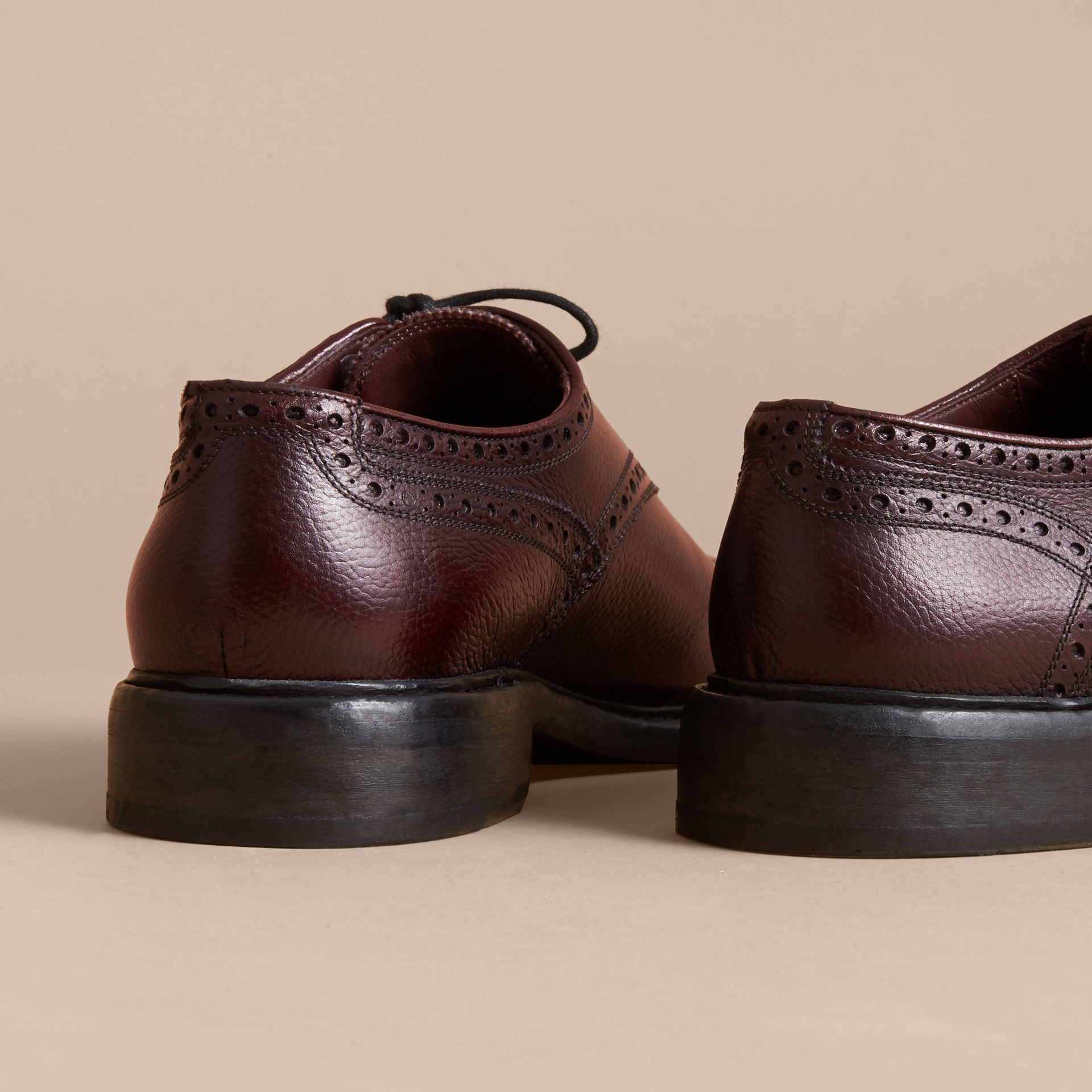 Leather Brogues with Asymmetric Closure in Burgundy - Men | Burberry - gallery image 5
