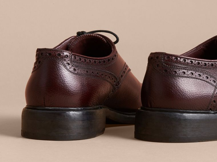 Leather Brogues with Asymmetric Closure in Burgundy - Men | Burberry - cell image 4