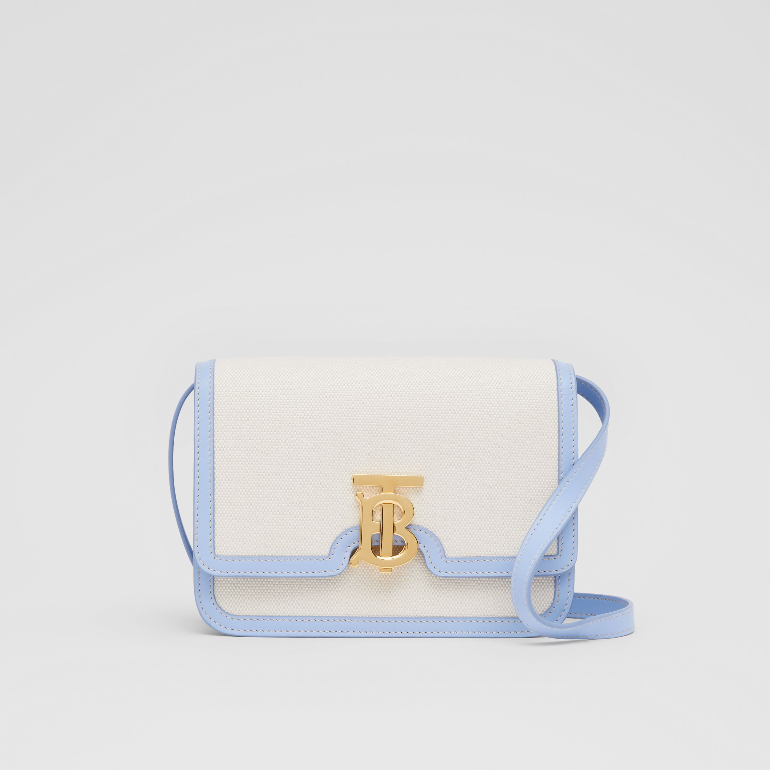 Small Two-tone Canvas and Leather TB Bag in Natural/pale Blue | Burberry - 1