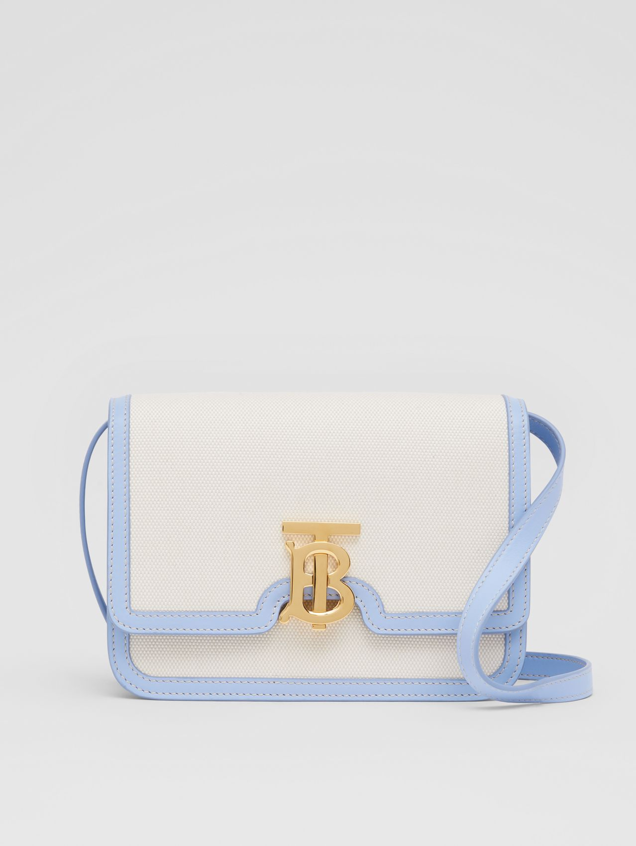 Small Two-tone Canvas and Leather TB Bag (Natural/pale Blue)