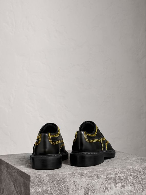 Topstitched Leather Derby Shoes in Black - Men | Burberry Australia - cell image 3