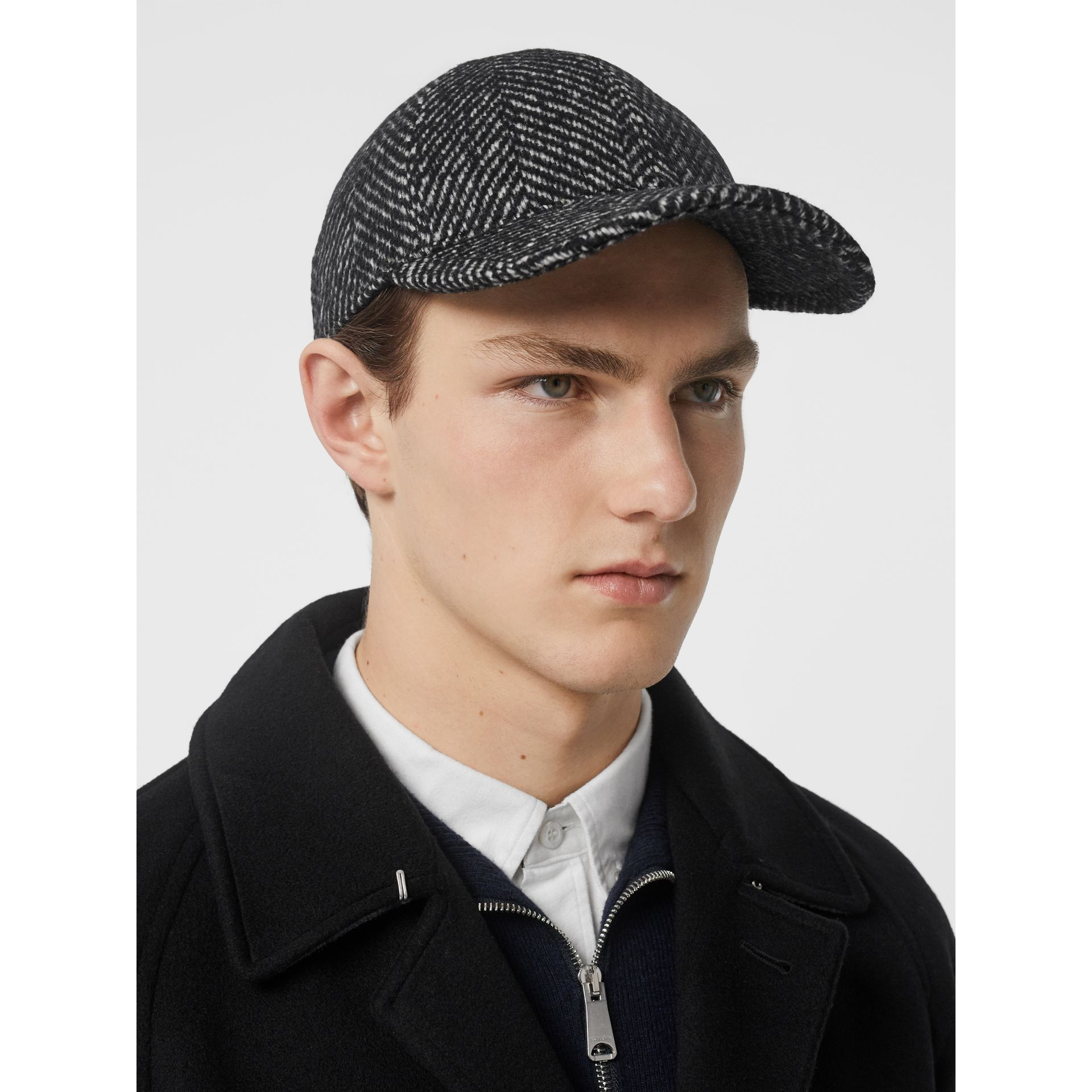 Herringbone Wool Silk Blend Baseball Cap in Black | Burberry - gallery image 3