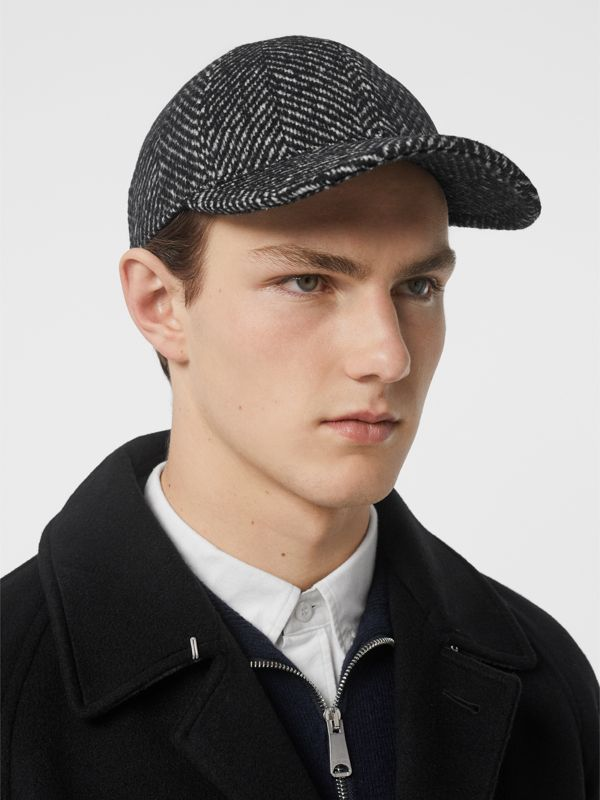 Herringbone Wool Silk Blend Baseball Cap in Black | Burberry - cell image 3