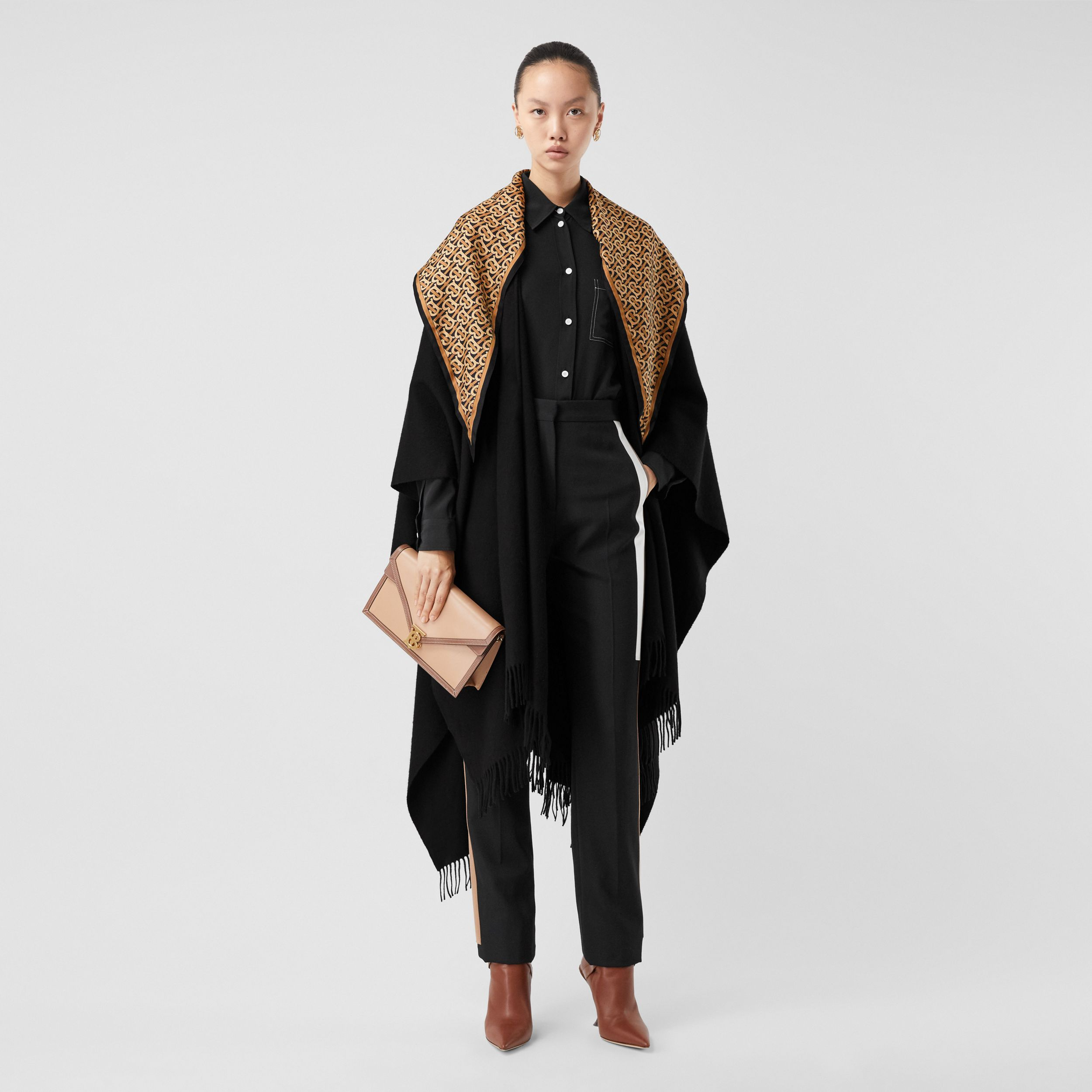 Detachable Monogram Print Scarf Cashmere Cape in Black - Women | Burberry - 1