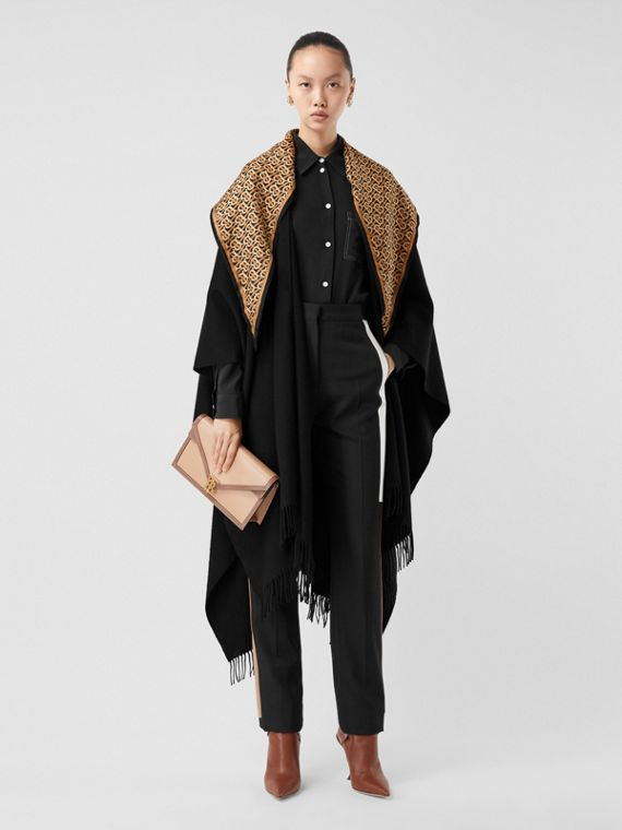 Detachable Monogram Print Scarf Cashmere Cape in Black