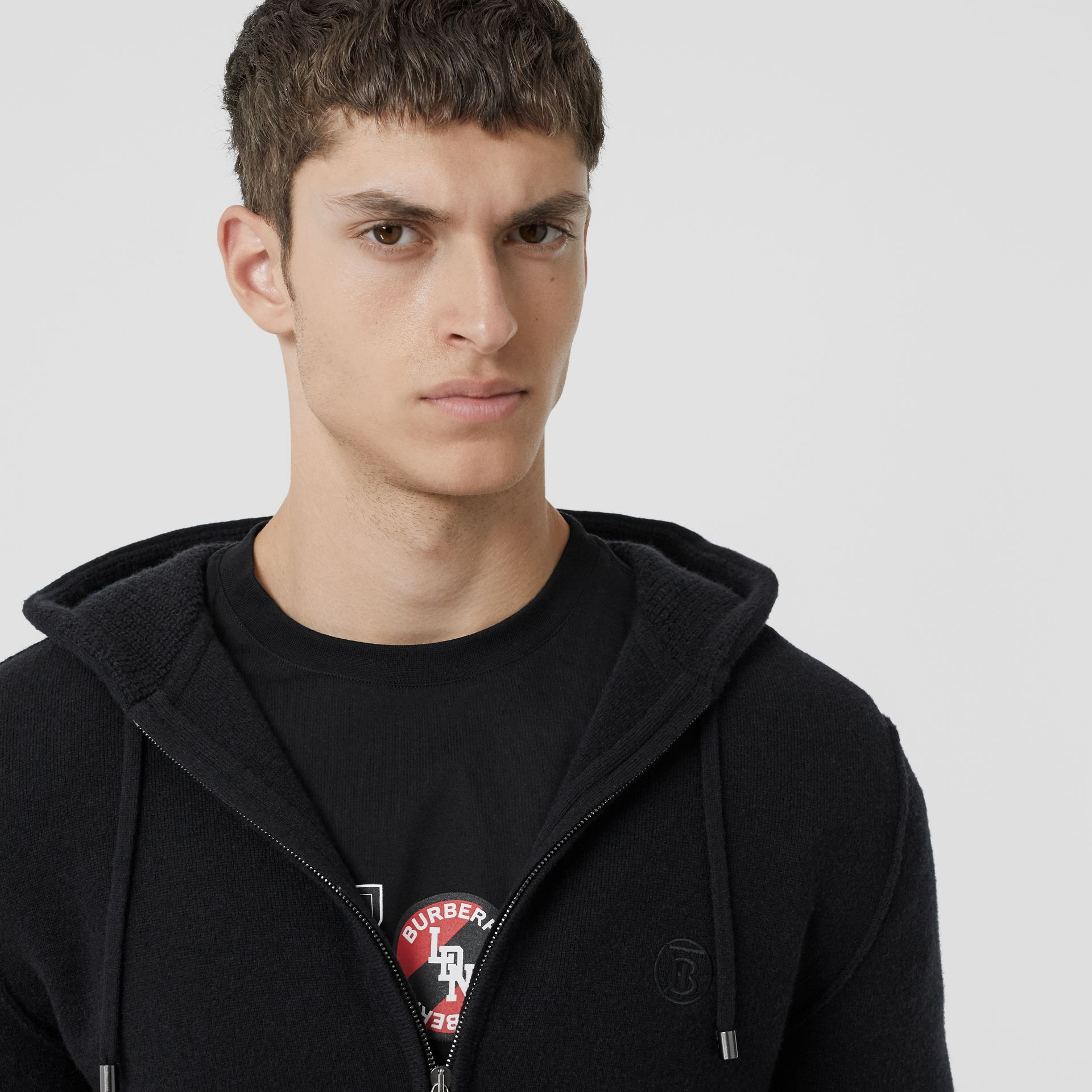 Monogram Motif Cashmere Blend Hooded Top in Black - Men | Burberry - gallery image 1