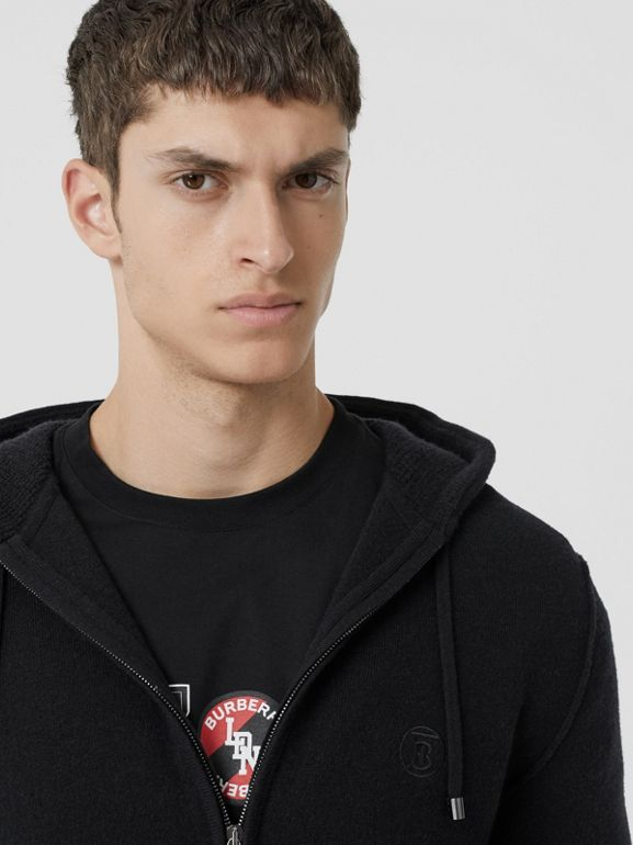 Monogram Motif Cashmere Blend Hooded Top in Black - Men | Burberry - cell image 1