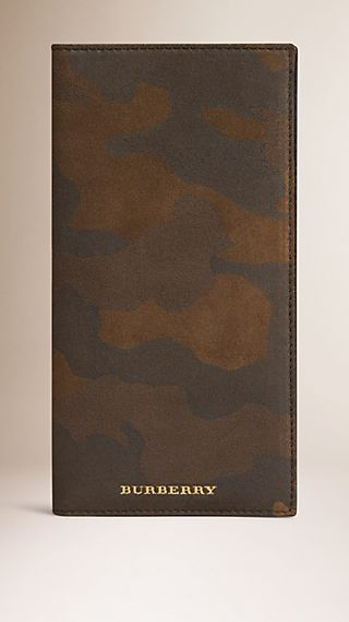 Camouflage Print Suede Card Case