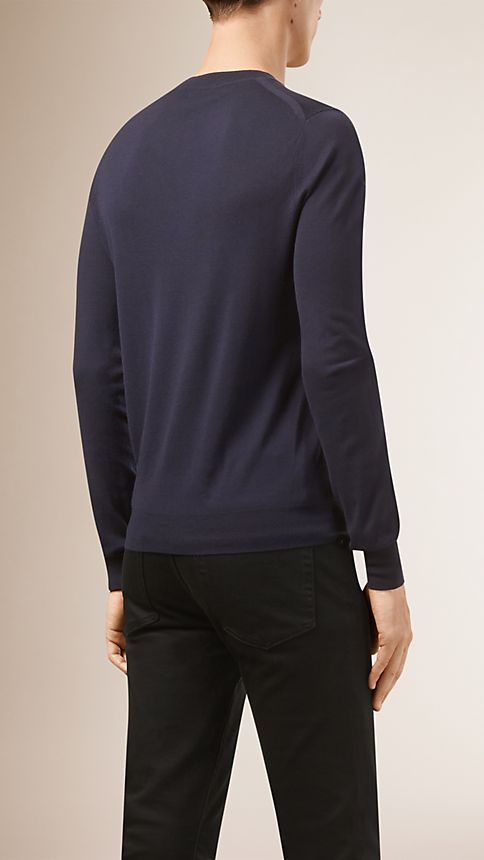 Navy Crew Neck Merino Wool Sweater - Image 2