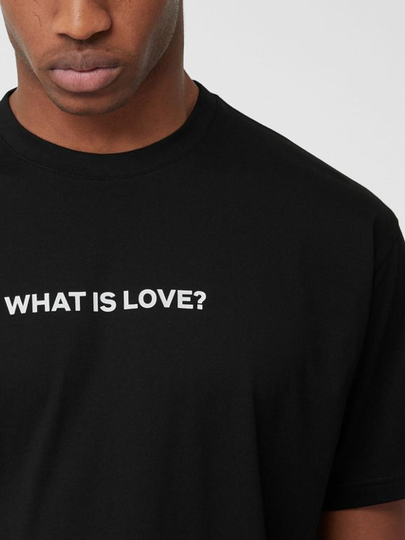 Love Slogan Cotton Oversized T-shirt in Black - Men | Burberry United Kingdom - cell image 1