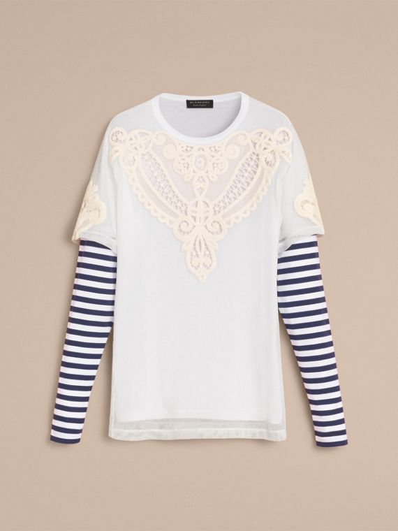 Breton Stripe-sleeve Lace Tulle Overlay Cotton Top - cell image 3