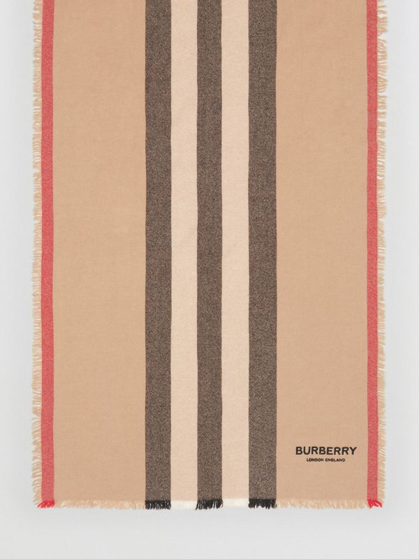 Icon Stripe Wool Cashmere Scarf in Camel | Burberry - cell image 3