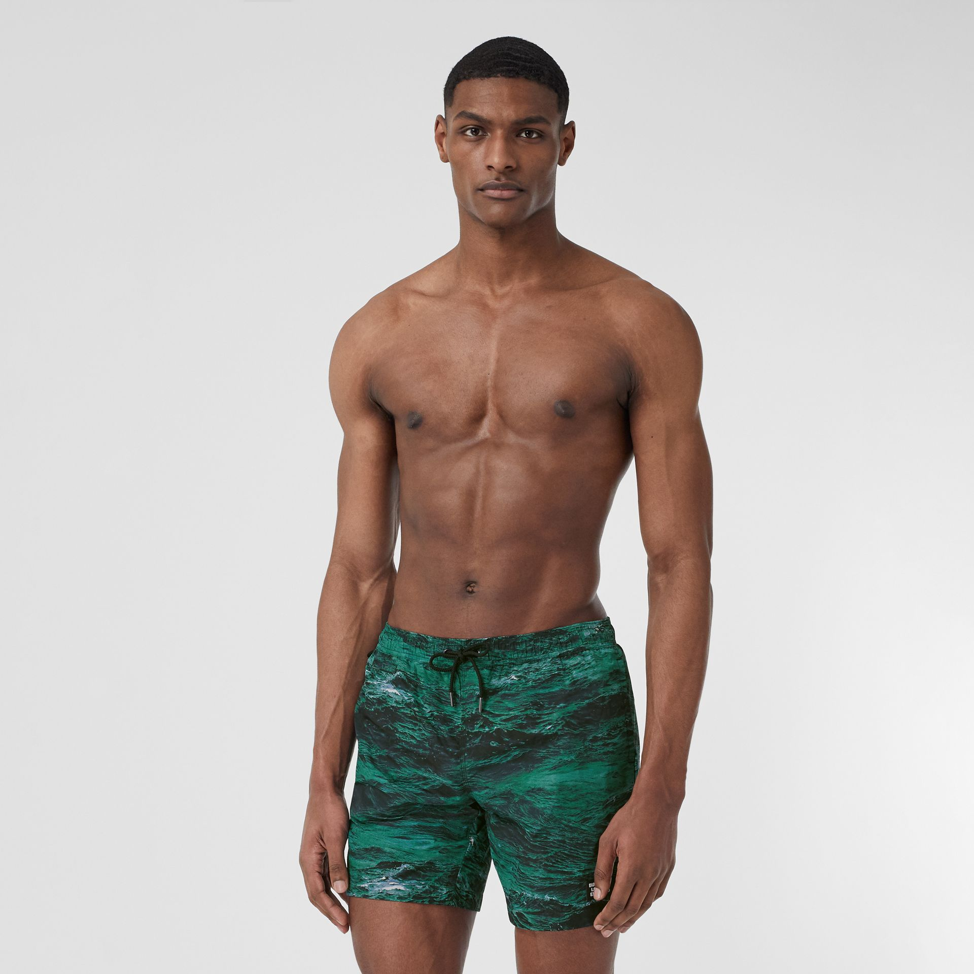 Sea Print Drawcord Swim Shorts in Deep Teal - Men | Burberry - gallery image 0