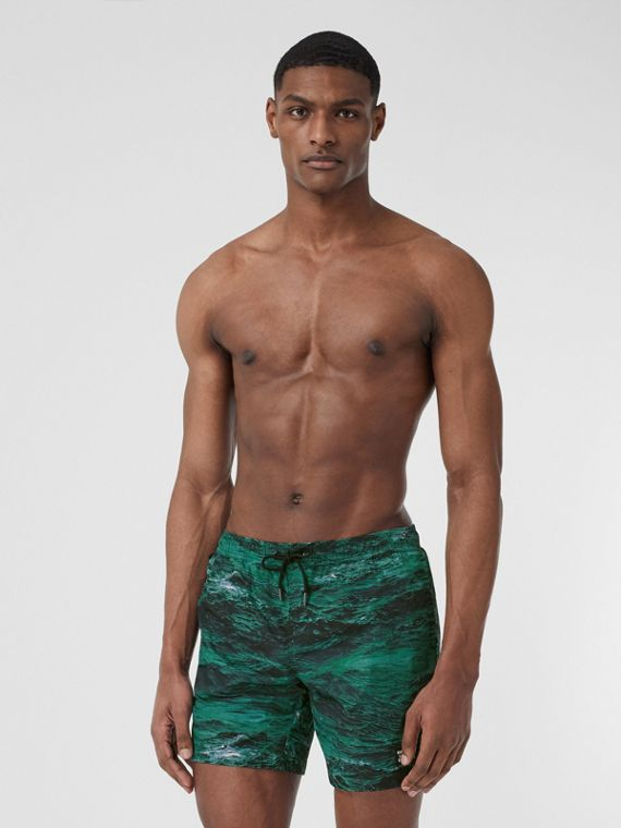 Sea Print Drawcord Swim Shorts in Deep Teal
