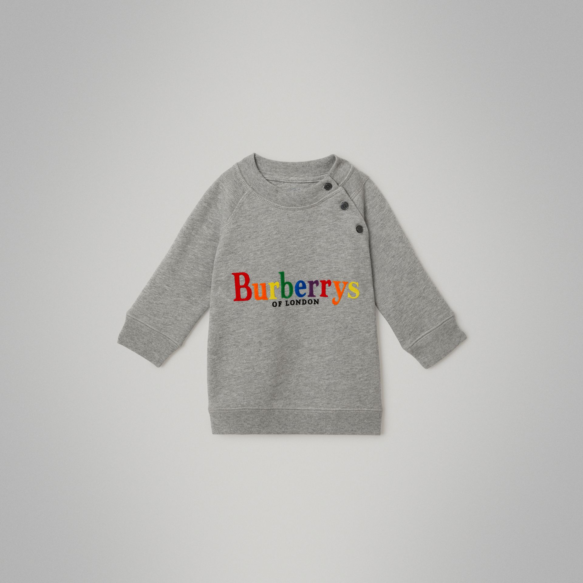Archive Logo Cotton Dress in Grey Melange - Children | Burberry Canada - gallery image 0