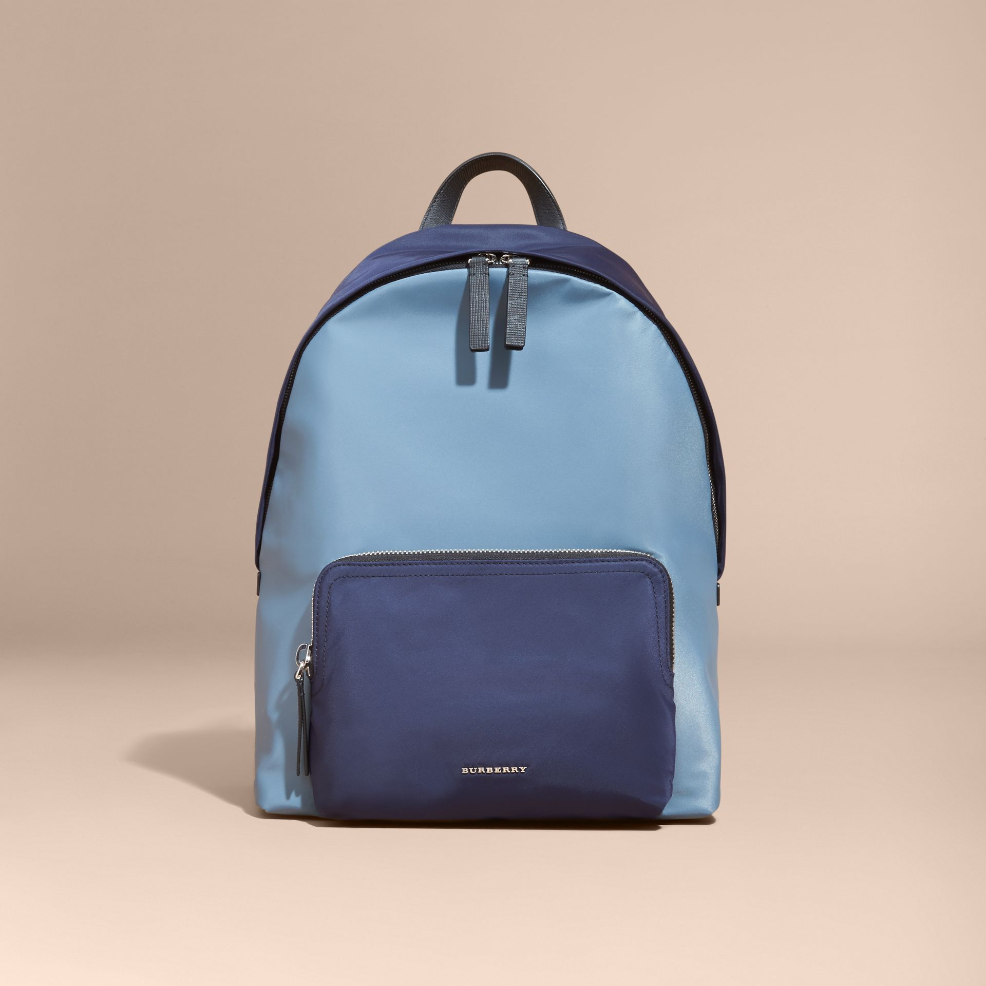 Leather and House Check Trim Technical Backpack in Slate Blue - gallery image 7