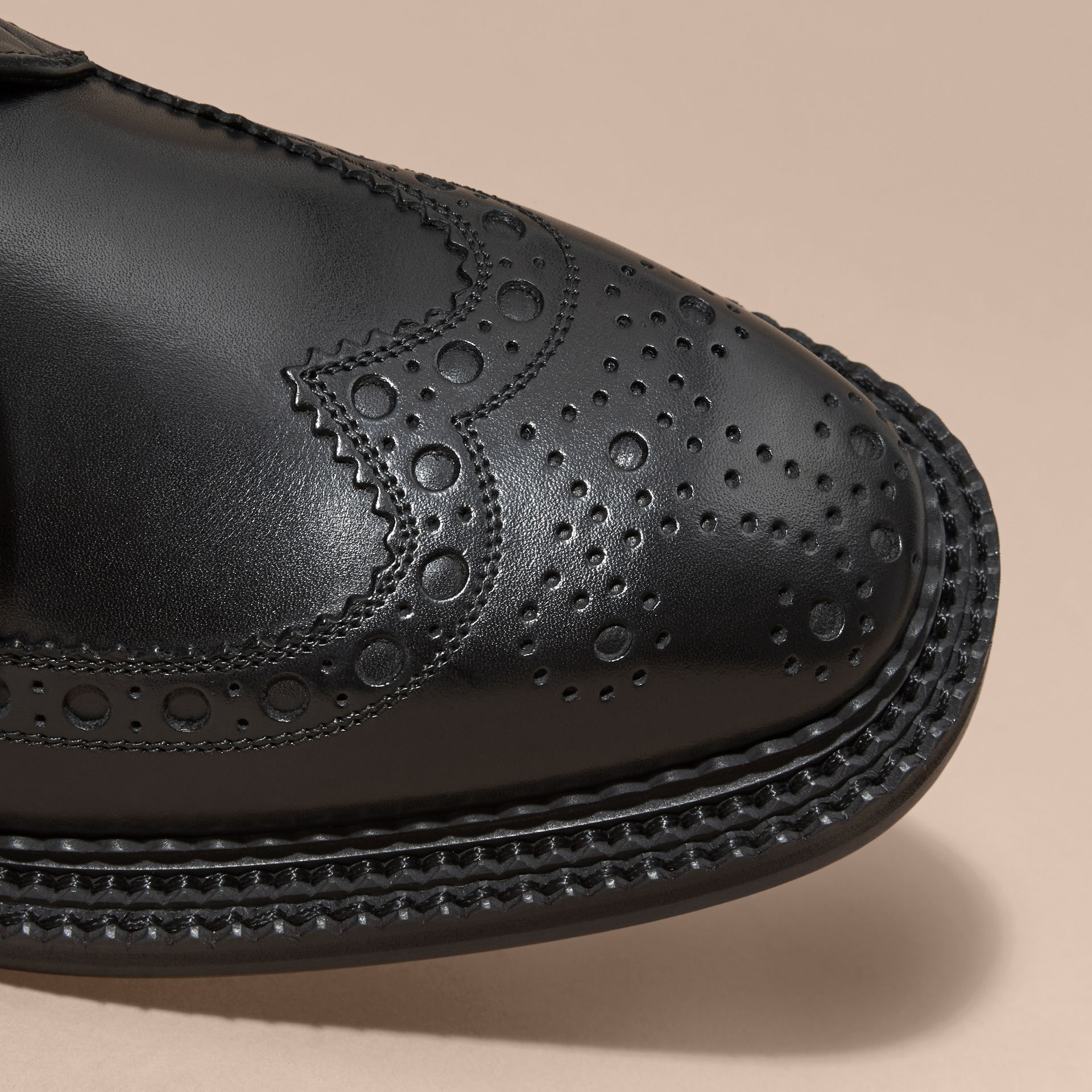Leather Brogue Boots in Black - Men | Burberry - gallery image 2