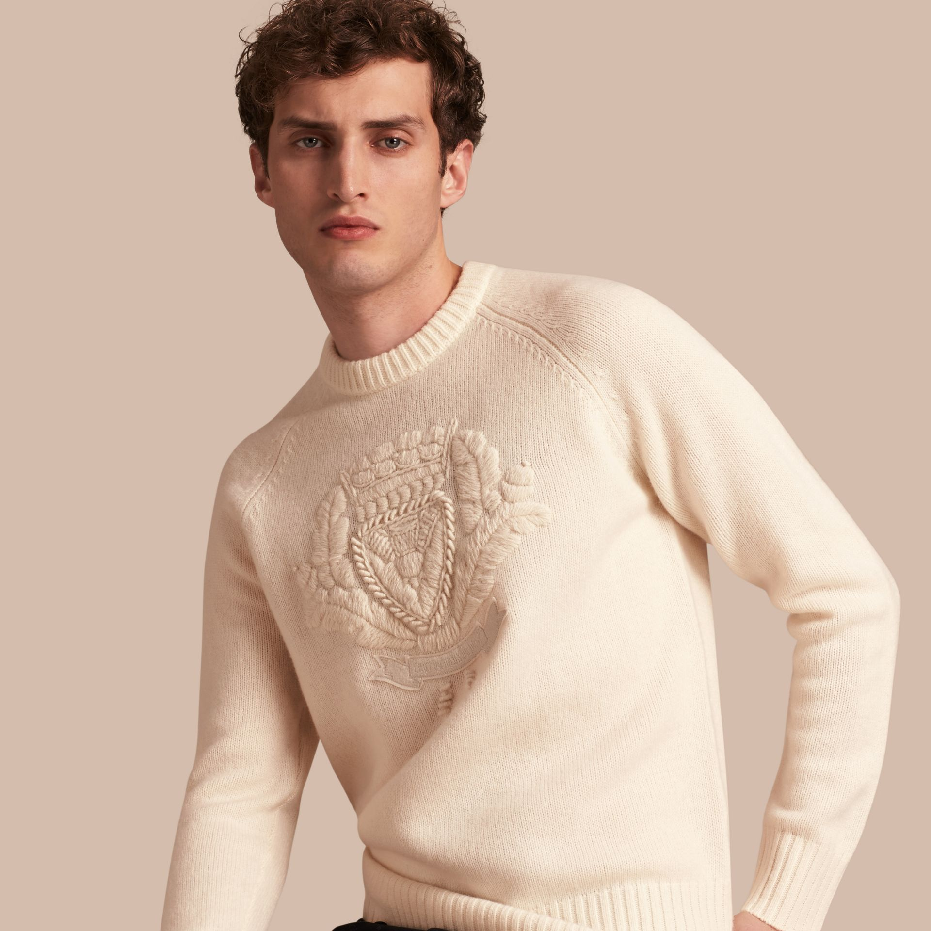 Natural white Embroidered Crest Wool Sweater - gallery image 1