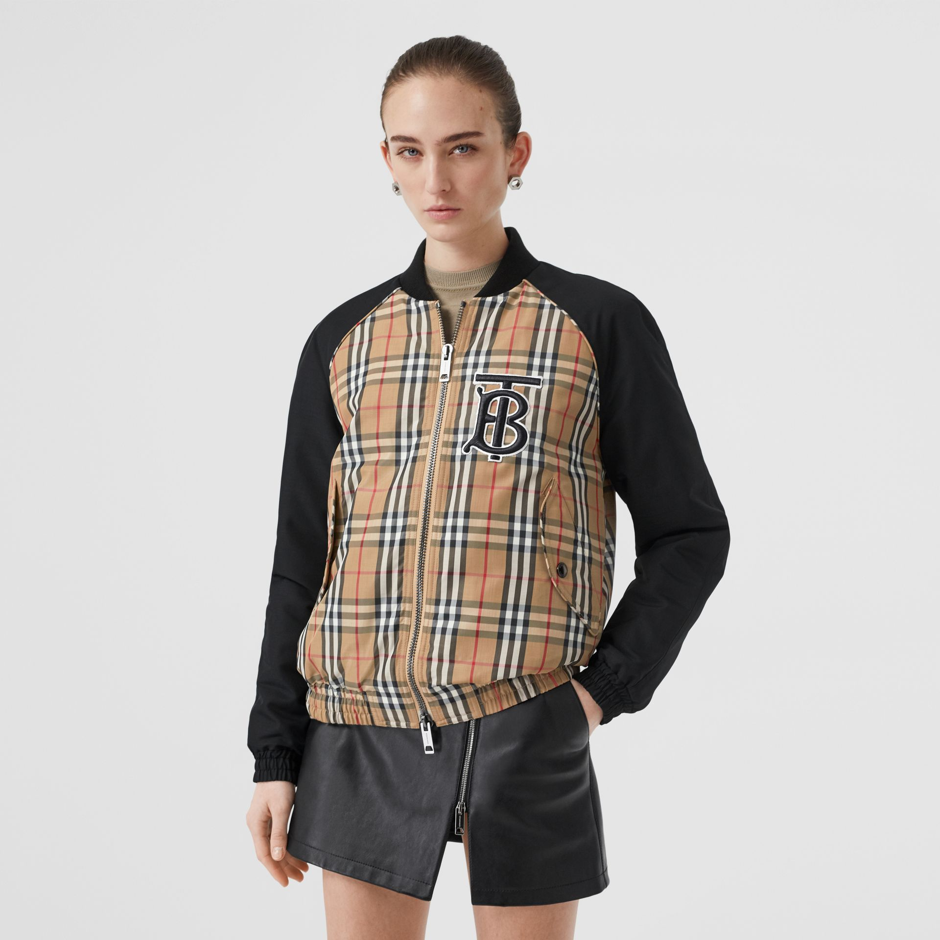Monogram Motif Vintage Check Bomber Jacket in Black - Women | Burberry Australia - gallery image 4