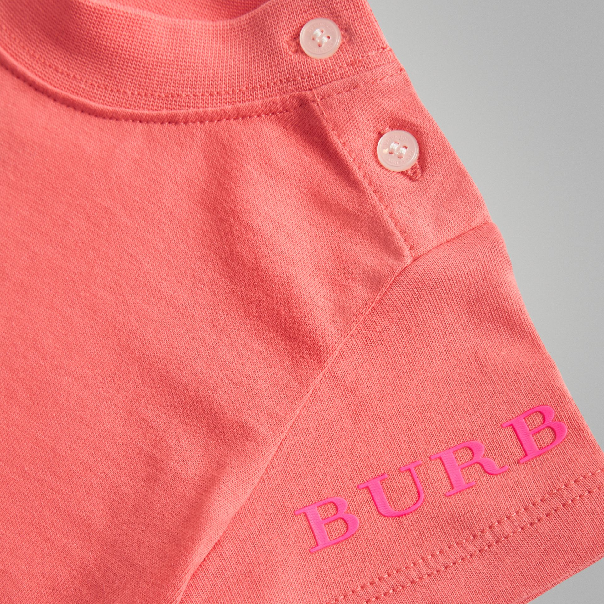 Logo Print Cotton T-shirt in Bright Pink - Children | Burberry - gallery image 1