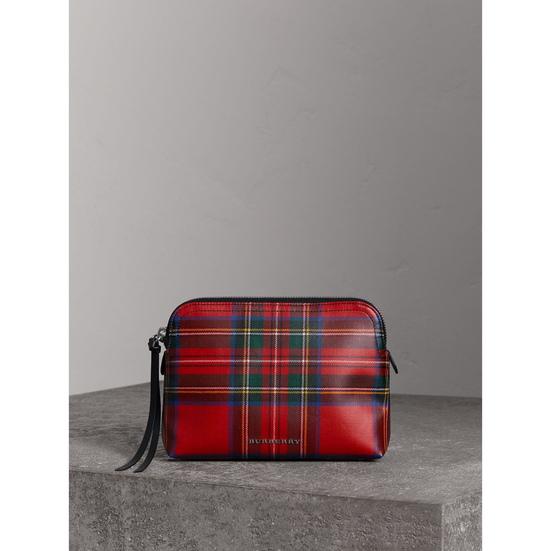 Large Laminated Tartan and Check Wool Blend Pouch in Military Red - Women | Burberry - gallery image 0