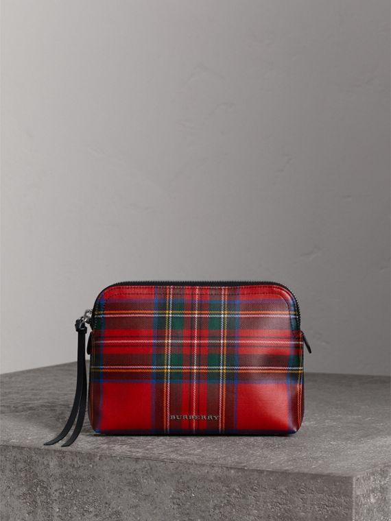 Large Laminated Tartan and Check Wool Blend Pouch in Military Red