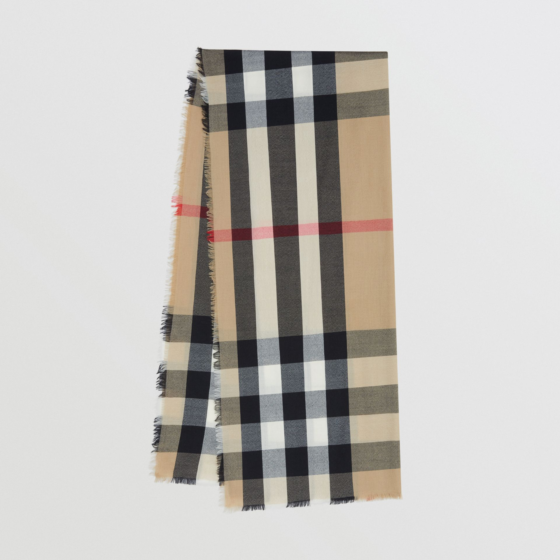 Lightweight Check Cashmere Scarf in Archive Beige | Burberry Hong Kong S.A.R - gallery image 0