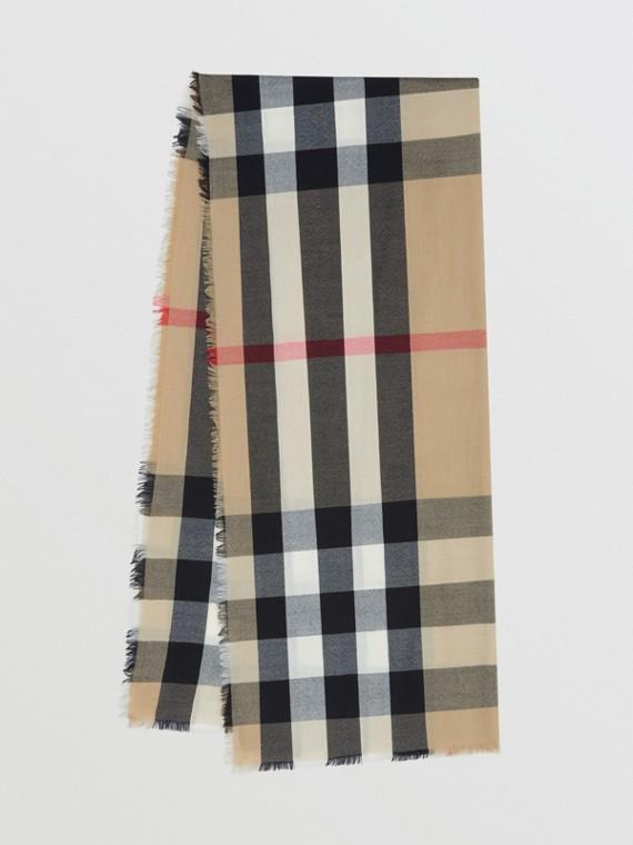 Легкий шарф из кашемира в клетку (Винтажный Бежевый)