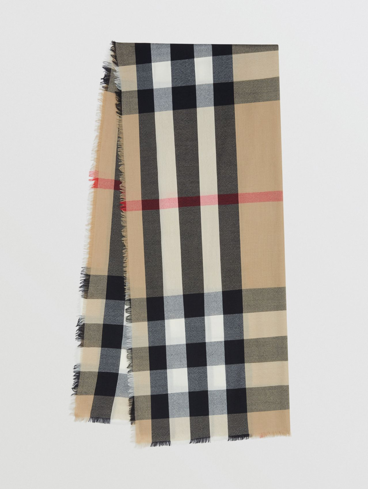 Lightweight Check Cashmere Scarf (Archive Beige)