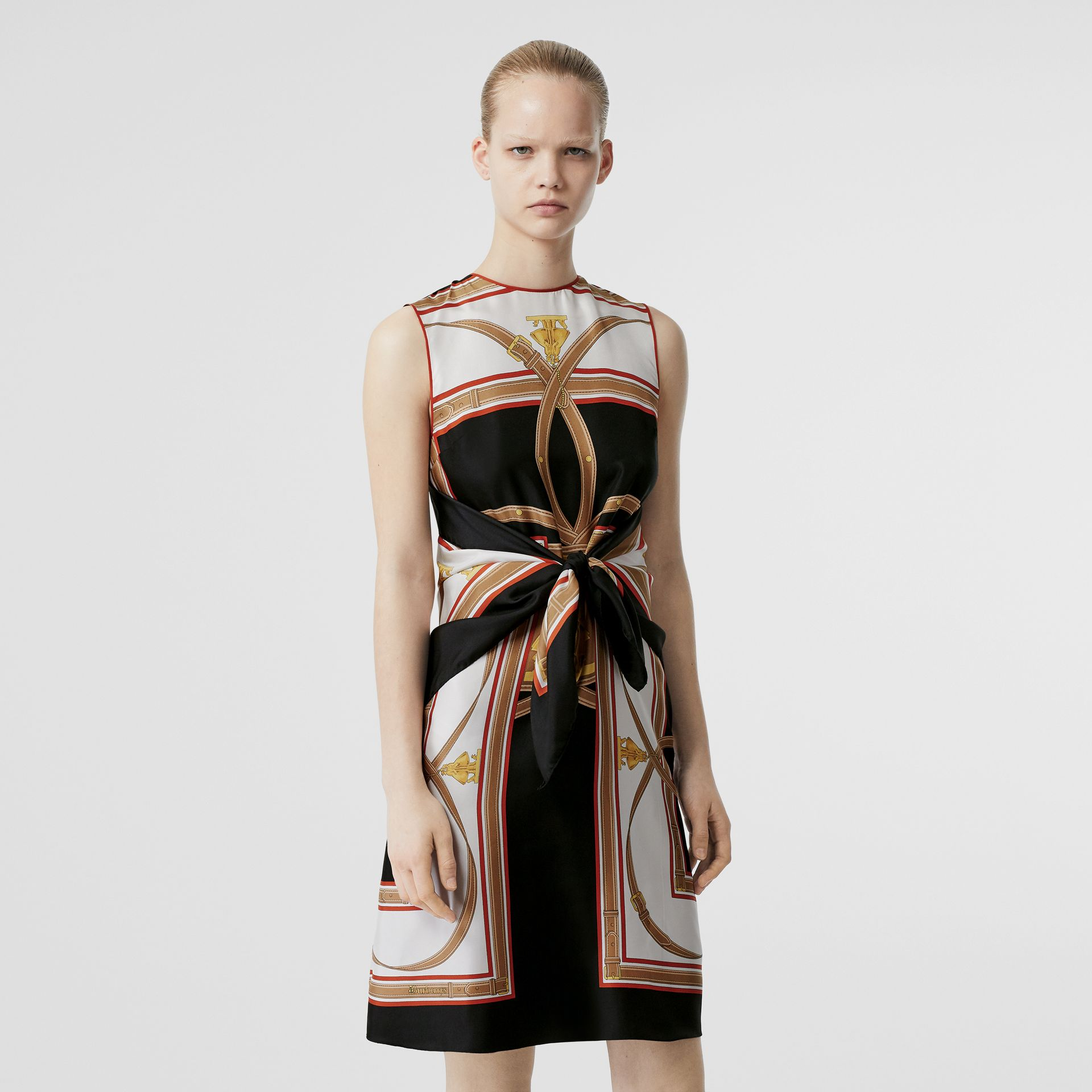 Archive Scarf Print Silk Dress with Detachable Scarf in Black - Women | Burberry - gallery image 0