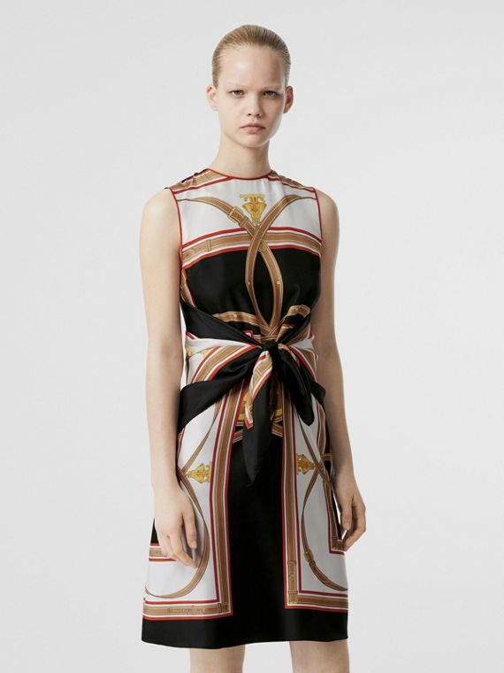 Archive Scarf Print Silk Dress with Detachable Scarf in Black