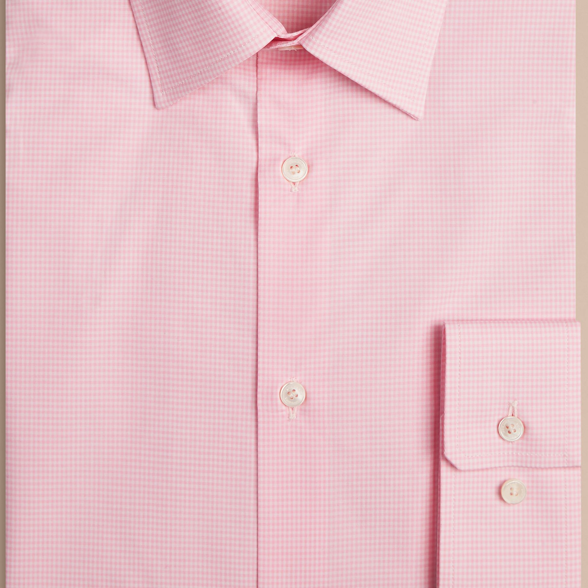 Modern Fit Gingham Cotton Poplin Shirt in City Pink - gallery image 2