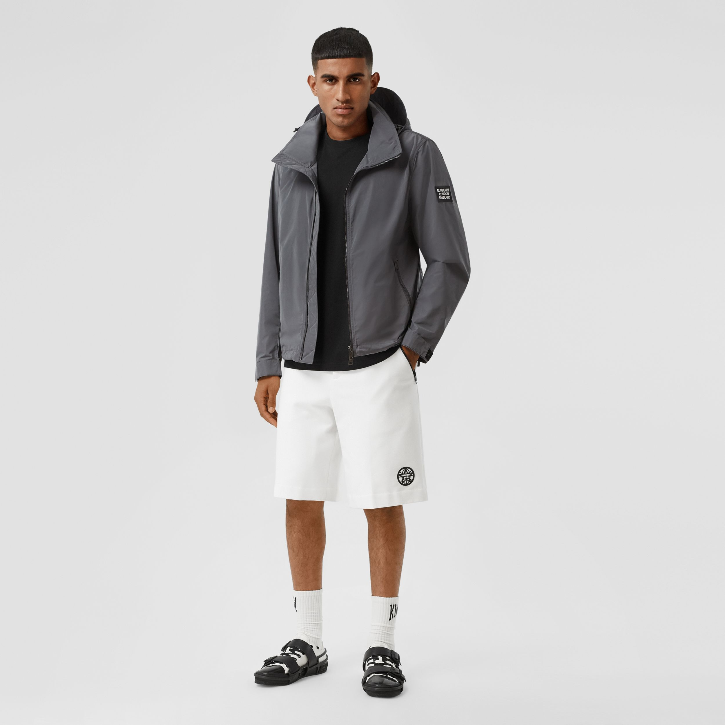 Packaway Hood Shape-memory Taffeta Jacket in Steel Grey - Men | Burberry - 1