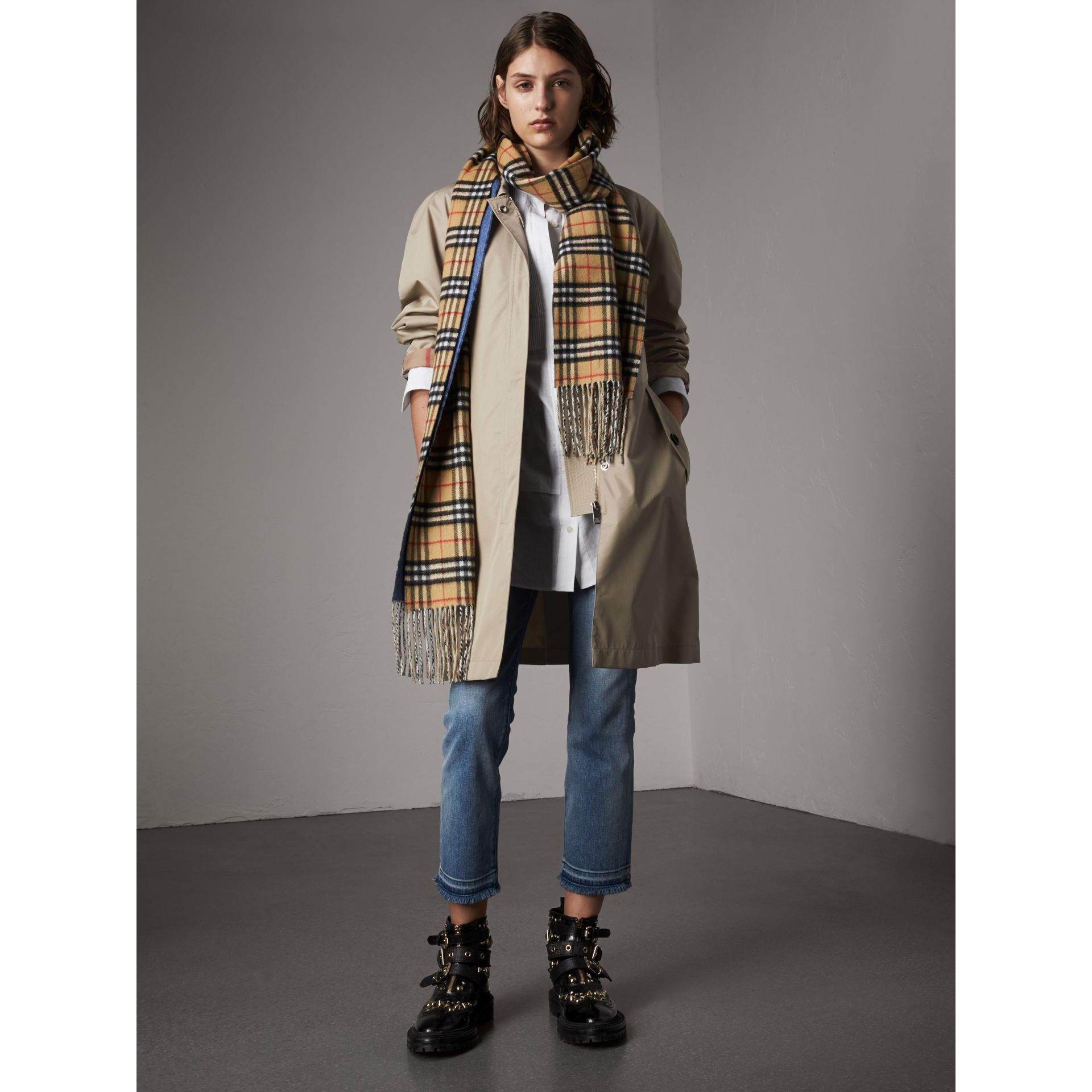 Detachable Hood Cotton Blend Car Coat in Stone - Women | Burberry - gallery image 6
